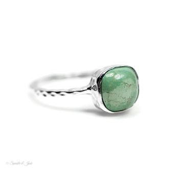 Sterling Silver Turquoise Textured Design Ring