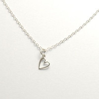Sterling Silver Heart Charm Necklace, Tiny Heart Charm, Fine Chain Necklace, Small Heart Pendant, Silver Heart Pendant, Love Necklace