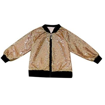 Baby Boys Girls Sequins Jacket Windproof Warm Coats Children Cool Long Sleeve Outerwear Kids Clothes