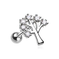 The Tree of Life Sparkle Cartilage Helix Tragus Earring 18ga Surgical Steel Body Jewelry