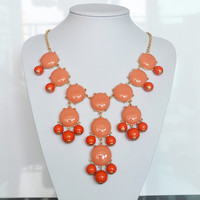 Orange Coral bubble necklace,holiday party,bridesmaid gifts,Beaded Jewelry,wedding necklace,Coral color necklace with chain