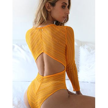 Sexy fashion deep V hollow long sleeve backless jumpsuit bodysuit