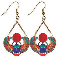 Winged Scarab Red Blue Egyptian Color Costume Dangle Earrings