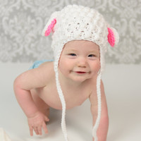 Baby Lamb Hat  - Crochet Lamb Hat - Baby Shower Gift -  Lamb photo prop - baby photo prop - Lamb Hat for boy - Lamb hat for girl