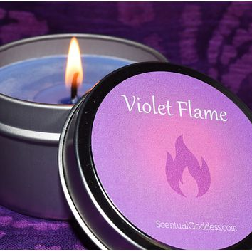 Violet Flame Meditation Candle for Letting Go & Clearing Past Life Karma