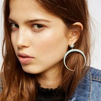 Free People Raw Stone Crescent Hoops