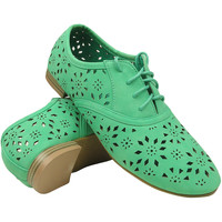Womens Cutout Lace Up Oxford Mint