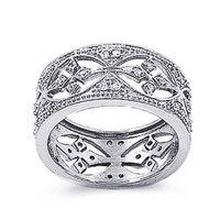 Sterling Silver Wedding & Engagement Ring Clear CZ Filigree Band Ring 11MM ( Size 5 to 10)