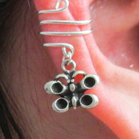 Spiral Wire Ear Wrap with Butterfly Charm