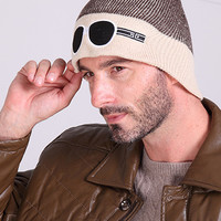 Coffee Color Block Glasses Patched Knitted Beanie