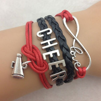 Red and Black Cheer Love Bracelet