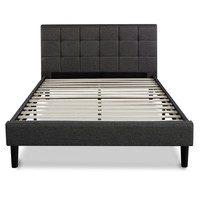 Full Size Dark Grey Fabric Upholstered Platform Bed with Headboard