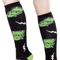 "Sourpuss Frankenstein 17"" Knee High Socks Gothic Punk Metal Psychobilly Monster"
