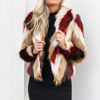 CHASER Champagne Clouds Chevron Faux Fur Jacket