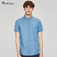 Men 100% Pure Cotton Short Sleeve Shirt New Summer Style blue Shirts Male Clothing Casual Shirts