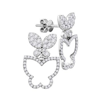 18k White Gold Round Diamond Butterfly Bug Stud Earrings 1-1/4 Cttw