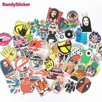 100 PCS / Pack Random music film Vinyl Skateboard Guitar Travel Case sticker toy decal Cute Stickers fashion funny sticker