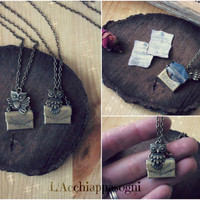 Owl Post necklace - Harry Potter Jewelry - Bronze - Locket - Letter Hogwarts Admission - miniature