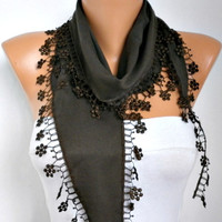 ON SALE - Brown Scarf  - Pashmina  Scarf - Cowl Scarf with Lace Edge   - fatwoman