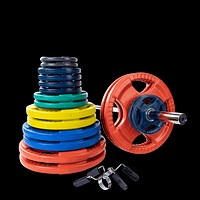 400 lb. Colored Rubber Grip Olympic Plate Set with Bar and lips