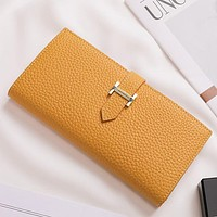 Hermes Women's Long H Fashion New Retro Large-capacity Folding Wallet With Leading Layer Leather Clutch