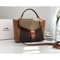 Coach Women Leather Shoulder Bags Satchel Tote Bag Handbag Shopping Leather Tote Crossbody