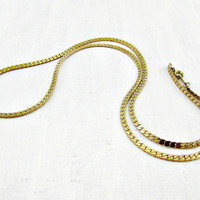 Vintage Mens Gold Chain Necklace, Thick Flat Chunky Gold Link Chain, Gold Modernist Necklace, 1970s 80s Jewelry, Gift for Boyfriend Him Guy