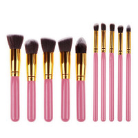 10 Piece Pro Makeup Brush Set  (Pink)
