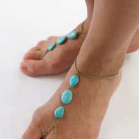 Forever Soles Treasure Turquoise Barefoot Sandals