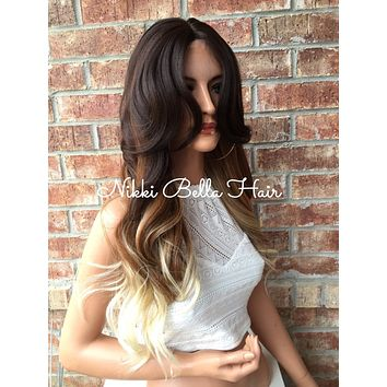 """Skyla Ombre Brown Blonde Human Hair Blend Lace Part Wig 22"""""""