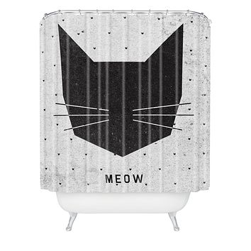 Wesley Bird Meow Shower Curtain