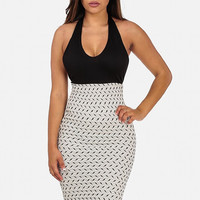 Knitted Halter Mini Dress Black & White