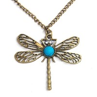 Beautiful Lovely Bronze Hollow Wings Dragonfly Pendant Long Chain Necklace Retro Style