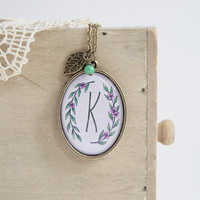 Personalized Initial Oval Antique Brass Necklace - Thicker Border - Epoxy Glass - Mother's Day - Bridesmaids Gift - Violet and Lilac Flowers