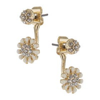 Flower Rhinestone Front and Back Earrings - Clear