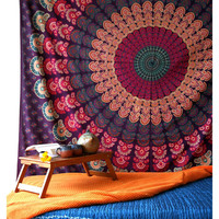 Bohemian Tapestry Mandala Throw Bedspread / Wall Hanging / Beach Throw