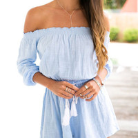 Summer Light Blue Off Shoulder High-waisted  Linen Rompers