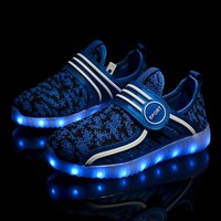 New fashion light up kids led shoes luminous girls boys sneakers color glowing casual with simulation sole charge for children