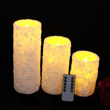 3pcs/set Remote control Flameless Real Wax Votive Led Pillar Candle Daily timer for Home Decoration ,white color
