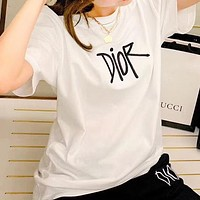 DIOR Summer New Women Men Leisure Letter Embroidery Short Sleeve T-Shirt Top