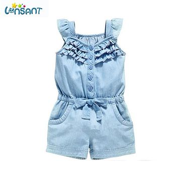 LONSANT Summer Baby Girl Clothes Clothing Rompers Denim Blue Cotton Washed Jeans Sleeveless Bow-Knot Jumpsuit