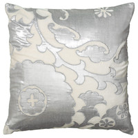 """Applique and Embroidered Ivory Pillow Cover (20"""" x 20"""")"""