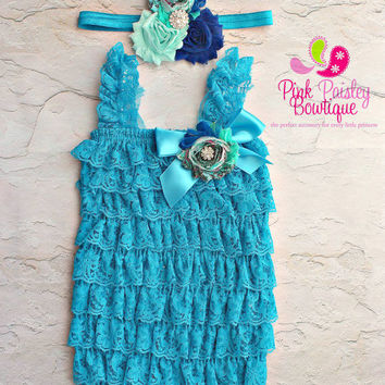 Blue petti lace romper and headband 3 pc SET, Baby girl 1st birthday outfit, Frozen Elsa Dress Outfit, Baby romper, Cake Smash Outfit