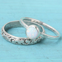 Opal engagent or wedding ring set - Sterling silver - floral band - rustic wedding - lab opal - stacking ring - vintage style - promise ring