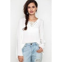Smooth Operator Lace Up Blouse