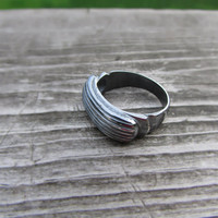 Shiny Black Ring,  Hand Carved,  Jewelry Cast in Silver, Organic Ladies Ring, Oxidized Sterling Silver