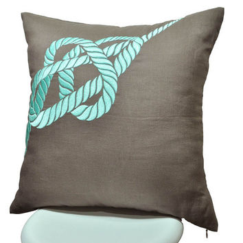 Rope Pillow Cover, Taupe Brown Linen with Turquoise Rope Embroidery, Nautical Pillow Cover 18x 18, Cottage Decor, Decorative pillow