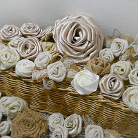 FREE Shipping! Bulk SALE Lot of 40 Burlap & Fabric Flowers, natural tones. Great for diy weddings, mason jars, bouquet making Ready to Ship!