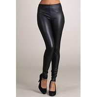 Sexy High Waist Faux Leather Slim Fit Ankle Length Leggings Pant