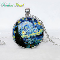 The Starry Night  PENDANT  Van Gogh The Starry Night  Necklace for him  Art Gifts for Her yellow orange red green picture